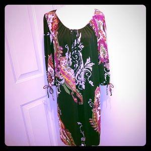 🖤🌺🌸 Pretty Black Paisley Floral Dress 3X 🌸🌺🖤